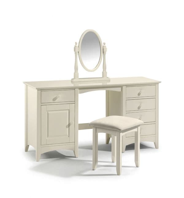 Mérida Stone White Twin Pedestal Dressing Table JB126